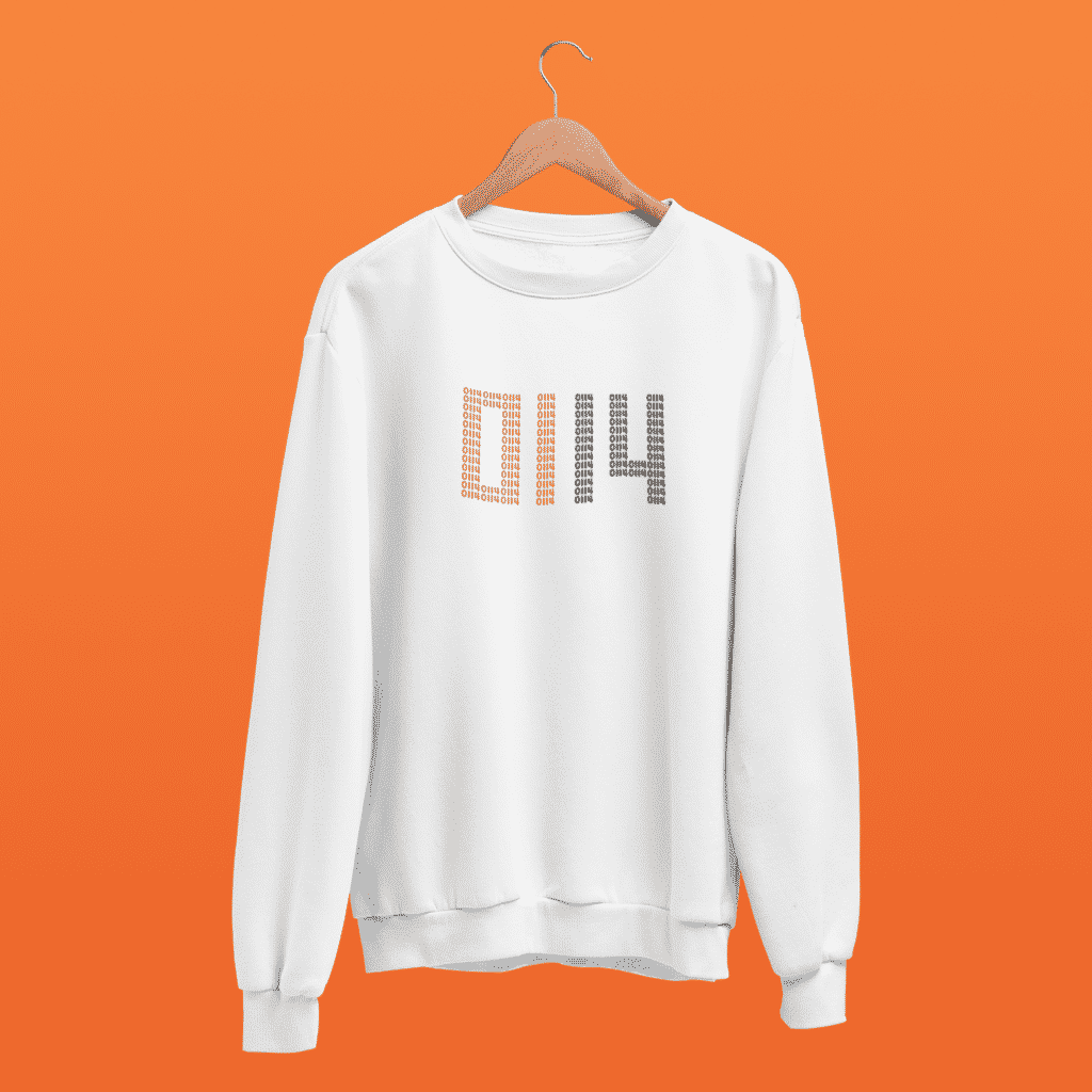 Steel city clothing's 0114 jumper in white against an orange background