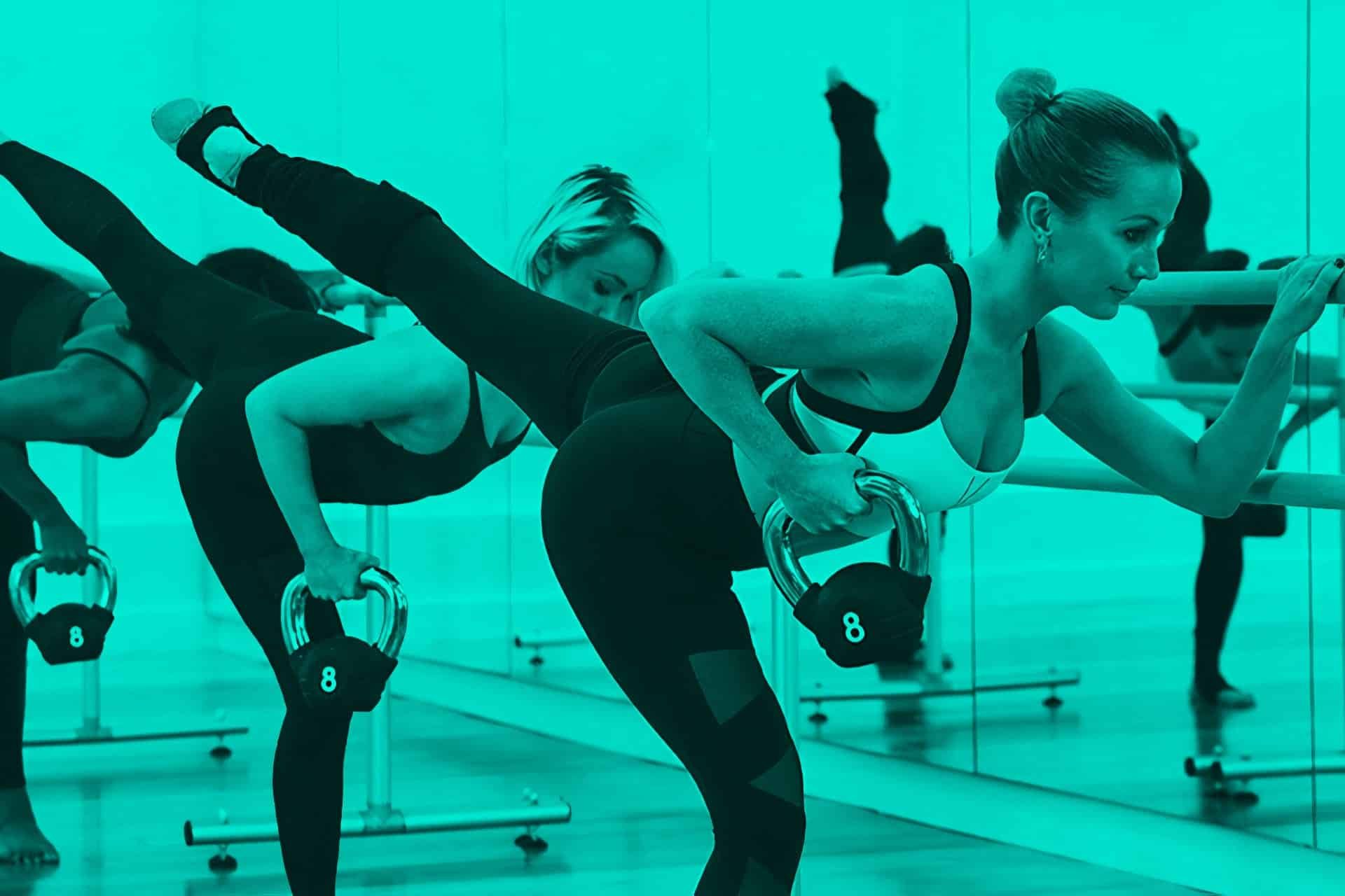 Barre workout in blue