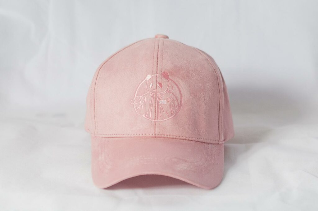 Tom Farrell hat in Pink with panda on front