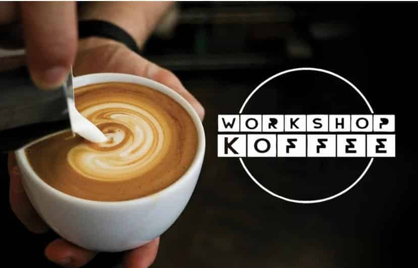 Workshop koffee logo next to coffee cup being poured